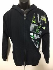 Mens DC Black Full Zip Hooded Sweatshirt With Design Size XL