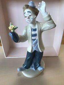 Paul Sebastian Clown Magician with Flower 1993 Porcelain Figurine by Meico Sad