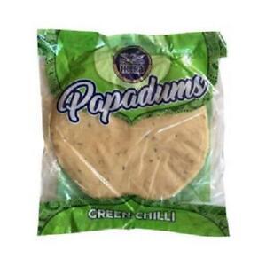 Green Chilli Flavour Indian Papad, Poppadoms, Papadums 200g