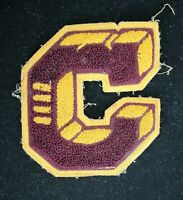 "VINTAGE 1960'S-1970'S SCHOOL MAROON AND GOLD PATCH 5 1/2"" X 5"""