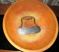 ANTIQUE WOOD KNEADING OR CUTTING BOWL W METAL HAND TOOL