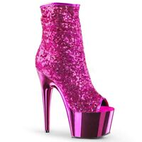 Pleaser Adore-1008SQ Ankle Boots Shoes Platform Stiletto High Heels Zip Sequins