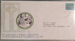 IRELAND - 1975 - ST PATRICK'S DAY - COMMEMORATIVE IRISH SILVER MEDAL and CACHET