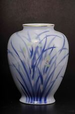 03 Japanese Fukagawa Porcelain Vase Lily Flowers Excellent Antique 官窯染付 深川製磁