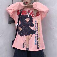 Retro Anime Pink 90s Oversized Long Sleeve Aesthetic Gamer Tshirt Egirl Japanese