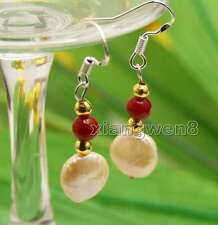 Big Pink 9-10mm Coin Round Natural Pearl and 5-6mm Red Coral dangle Earring-e507