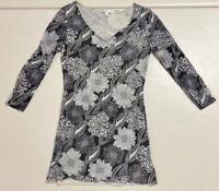 CAbi Women 968 Black White Floral Mesh Sheer V Neck Blouse Shirt Sz M