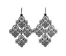Chantilly Lace Black Filigree Stella Hook Dot Earwire Chandelier Dot Earrings