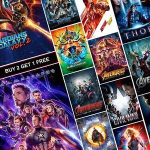 Marvel Movie Posters A4 A3 HD Prints Art Free Iron Man Avengers Spiderman MCU
