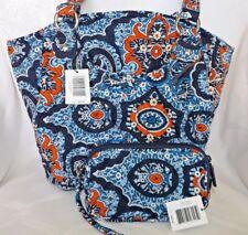 VERA BRADLEY GLENNA Shoulder Bag Purse  - Marrakesh Navy & FREE TECH WRISTLET