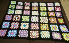 Granny Square Afghan Crochet Lap Blanket Throw 43 x 36 Grandma Squares Handmade