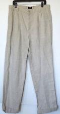 Dockers Khakis Beige No Wrinkle Linen Blend Pleated Relaxed Pants W 36 L 34