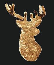 XL HIRSCH GEWEIH PAILLETTEN APPLIKATION BÜGELBILD gold TRACHT OKTOBERFEST groß