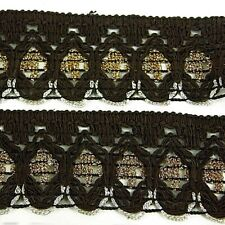 ATTRACTIVE INDIAN GOLD CRYSTAL BLACK EMBROIDERED SURROUND /&GOLD LACE-Sold By MTR
