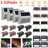 4/12X LED Solar Power Stainless Steel Fence&Path Light Outdoor Garden Step Wall