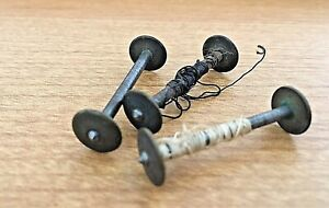 Lot of 3 Vintage  Antique(?) METAL SEWING THREAD SPINDLES