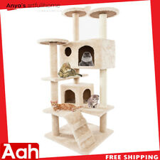 "52"" Cat tower Solid Cute Sisal Rope Plush Cat Climb Tree Beige"