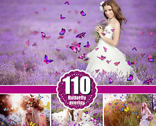 110 butterfly Photo Overlays, Flying butterfly, Overlays for Photoshop, png file