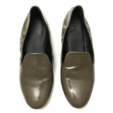 DKNY Womens Olive Green Patent Leather Flats Loafers Size 7 Made In Italy