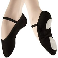 Pink & Black CANVAS Ballet Dance Shoes split suede sole elastics jig pumps (AA)