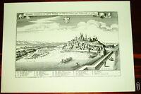 Breisach alte Ansicht Merian Druck Stich Panorama 1650 Städteansicht Baden Württ