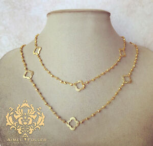 Quatrefoil Brass Chain with Gold Finish Nuggets & Clover 2-Strand Necklace USA