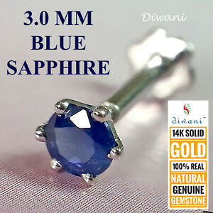 3.0mm Natural BLUE SAPPHIRE 14kGold Nose Lip Labret Piercing Stud Screw Ring Pin