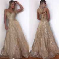 Women Formal Wedding Bridesmaid Party Ball Prom Gown Long Cocktail Evening Dress