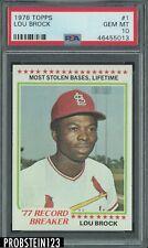 1978 Topps #1 Lou Brock Cardinals PSA 10 GEM MINT