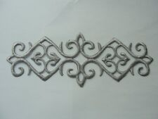 Silver Metallic Scroll Rectangle Costume Iron On Embroidered Patch 7.25 Inches