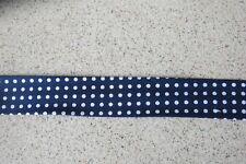 Bias binding- Navy and white spot, 25mm, price per metre