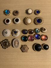 New listing Vintage 1980s 23 Button Covers Cameos Blue White Pink Black Pearl Faux Gems