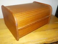 Vtg Kalmar Designs Teak Wood Roll Top Tambour Storage Double Disk Card File Box