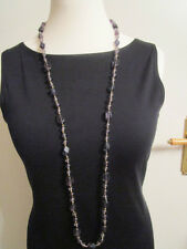 Halskette Kunststeine Grau Modeschmuck kein Metall Länge 120 cm Kunststoff
