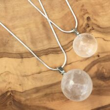 Mother Daughter Clear Quartz Crystal Ball Sphere Necklace Set Focus Clarity Love