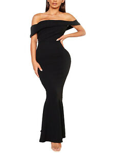 B00H00 BLACK Bandeau Sleeve Fishtail Maxi Dress - Plus Size 16 to 22