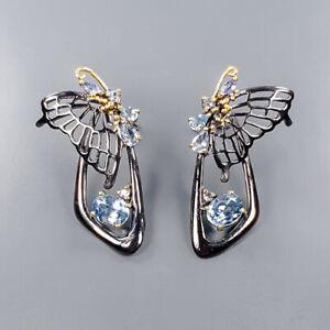 Gemstone jewelry art Blue Topaz Earrings Silver 925 Sterling   /E55381