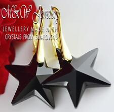 Gold Plated 925 Silver Earrings Crystals from Swarovski® 20mm STAR - Jet