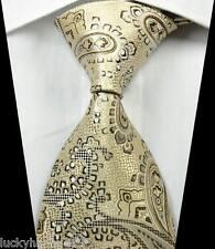 New Classic Paisleys Beige Brown JACQUARD WOVEN 100% Silk Men's Tie Necktie