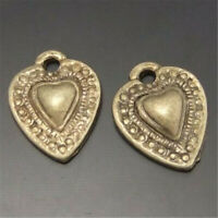 96pcs/pack Retro Bronze 9x9mm Small Heart Pendant Charms Jewelry DIY Accessories