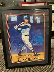 TED WILLIAMS BOSTON RED SOX BUSCH SIGNED 15X20 POSTER FRAMED JSA AUTHENTIC