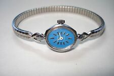 Vintage Benrus 17 Jewel Ladies Blue Face Running Wrist Watch