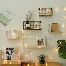Wooden&Iron Wall Mounted Shelf Holder Storage Rack Organizer Home/Office