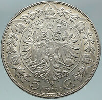 1900 AUSTRIA w KING FRANZ JOSEPH I Eagle OLD ANTIQUE Silver 5 Corona Coin i87458