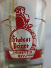 Souvenir Shot Glass Gold Rim 1oz Student Prince Restaurant, Springfield, MA