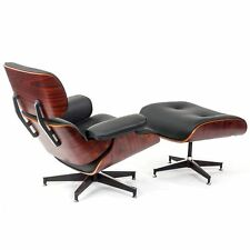 Classic Eames Style Lounge Chair and Ottoman Top Grain Leather Rosewood Plywood