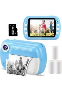 Instant Kids Cameras 3.5 Inch Screen Thermal Printing Children's Photos- Blue