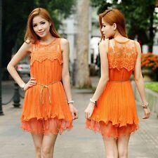 Vestido de encaje nuevas señoras de la gasa de ganchillo capas color naranja, Reino Unido 8-10