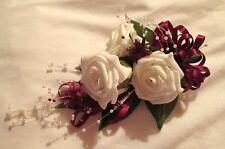 ARTIFICIAL WEDDING FLOWERS WEDDING BOUQUET BRIDES BOUQUET CORSAGE BURGUNDY IVORY