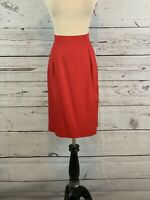 LORD & TAYLOR Womens Red Back Zipper Size 100% Rayon Knee Length Skirt P14 NWT